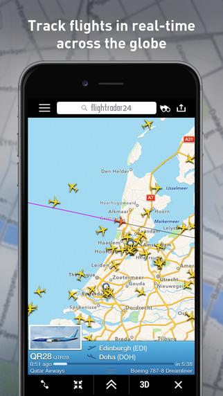App Flightradar24: Flug-Anzeigetafel